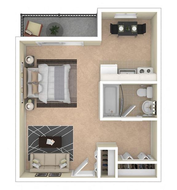 2112 New Hampshire Ave Apts Studio 450 sq ft floor plan
