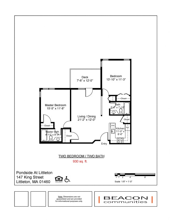 Floor Plan  Two bedroom apartments Pondside at Littleton