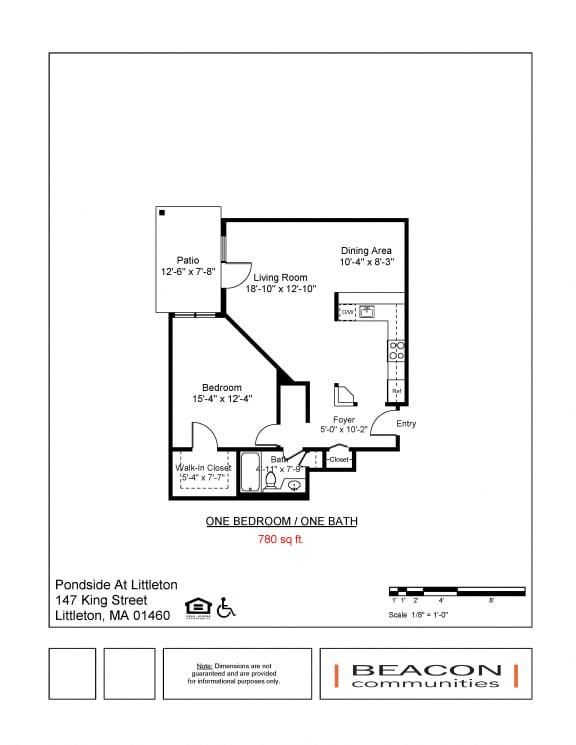 One bedroom apartments Pondside at Littleton