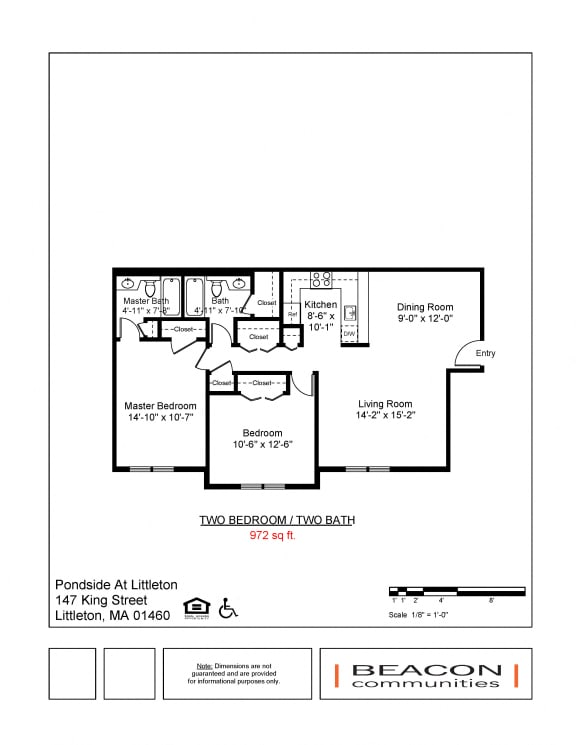 Two bedroom apartments Pondside at Littleton