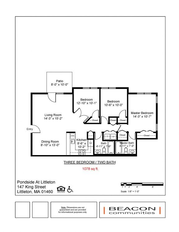 Three bedroom apartment Pondside at Littleton