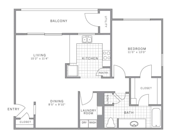 A2 Floor Plan at AVE Somerset, Somerset, NJ