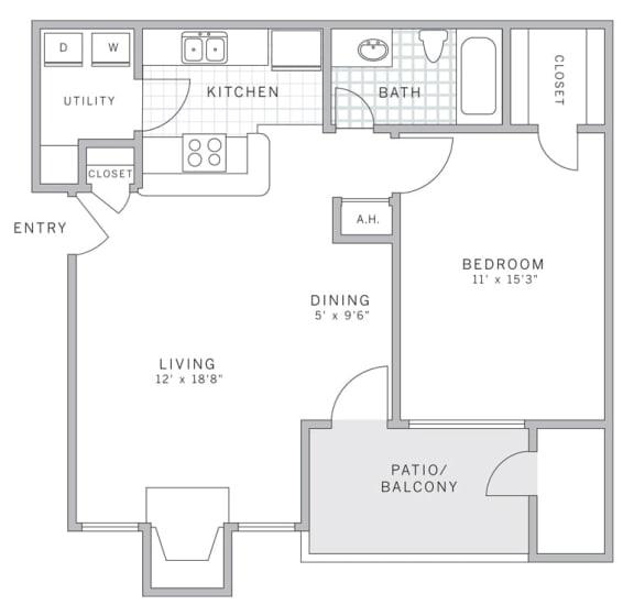 A1 Floor Plan at AVE Malvern, Pennsylvania