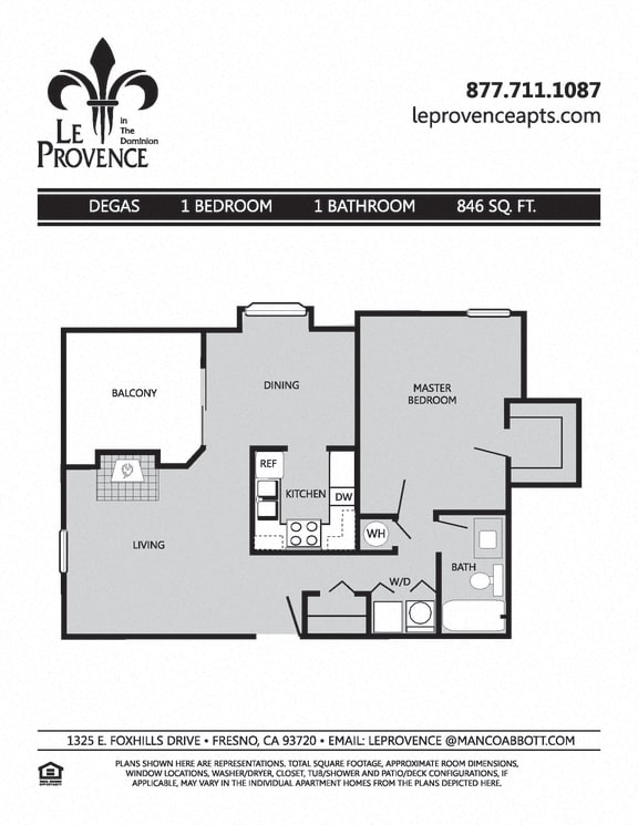 Floor Plan  Degas, Upstairs Floor Plan at Le Provence at the Dominion, Fresno, CA, 93720