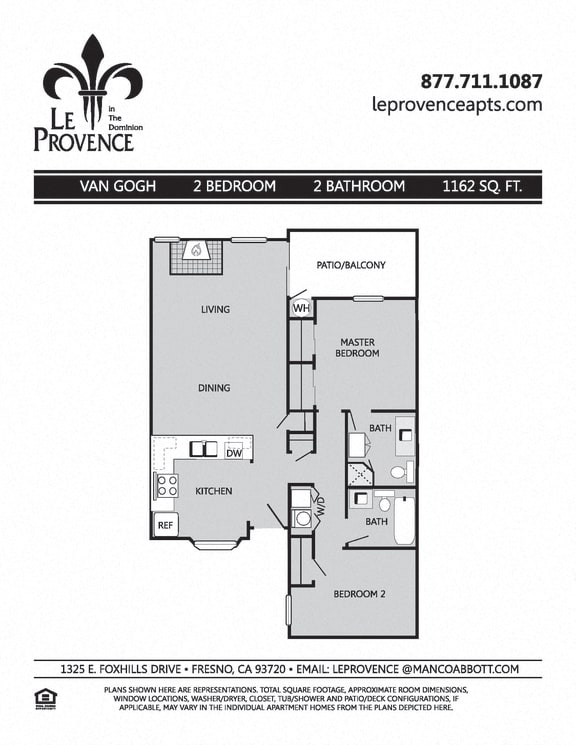 Floor Plan  Van Gogh, Downstairs Floor Plan at Le Provence at the Dominion, Fresno, California