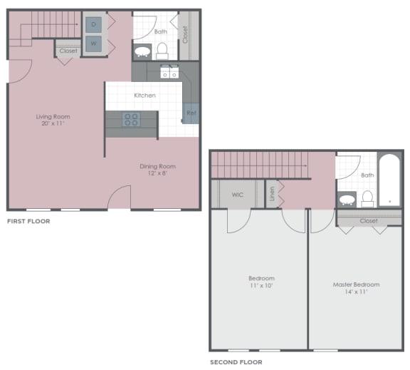 2 Bedroom 1.5 Bath 1180 sq ft floor plan image