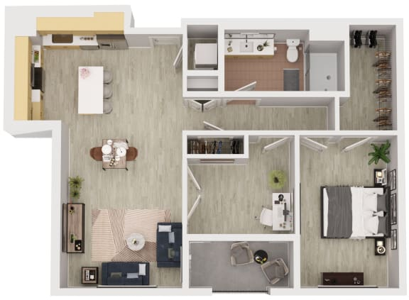 A10 - 1 Bedroom 1 Bath Floor Plan Layout - 946 Square Feet