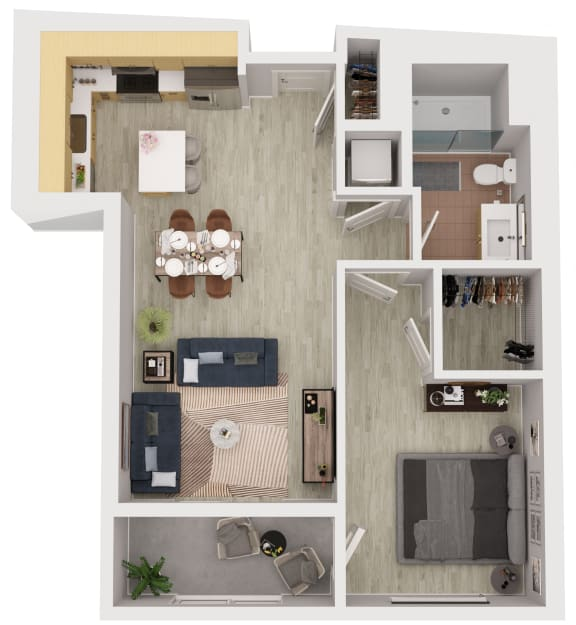A12 - 1 Bedroom 1 Bath Floor Plan Layout - 675 Square Feet