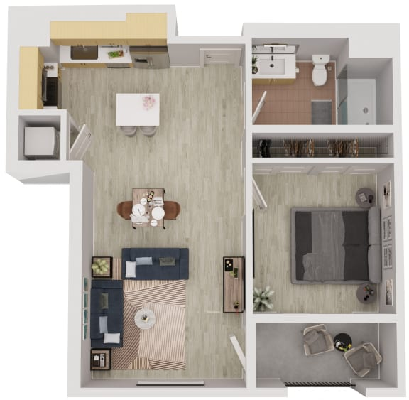 A3 - 1 Bedroom 1 Bath Floor Plan Layout - 636 Square Feet
