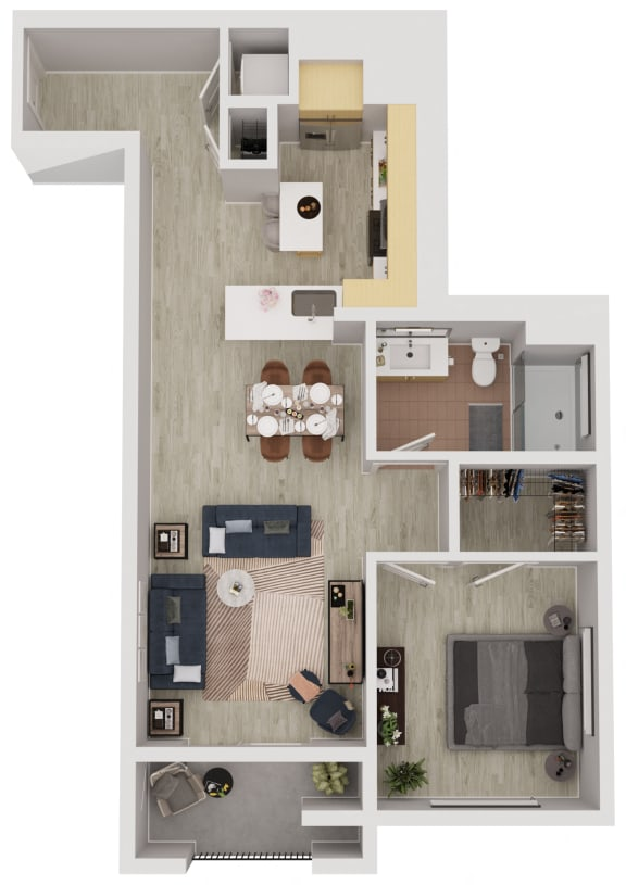 A5 - 1 Bedroom 1 Bath Floor Plan Layout - 749 Square Feet