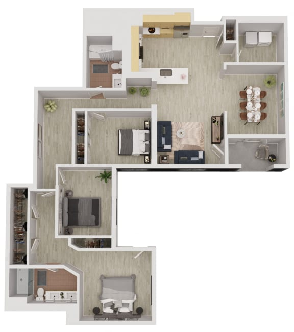 C3 - 3 Bedroom 2 Bath Floor Plan Layout - 1655 Square Feet