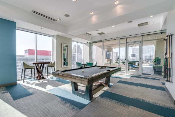 skyhouse clubroom with pool table
