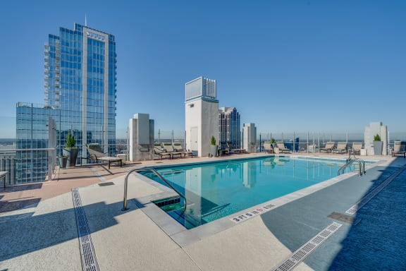 skyhouse rooftop pool downtown view