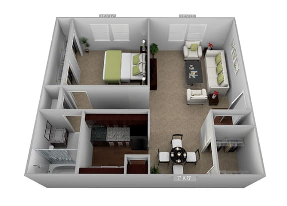 1bed 1bath Floor Plan at Highland Club Apartments, Watervliet, NY, 12189