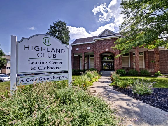 Elegant Entry Signage at Highland Club Apartments, Watervliet