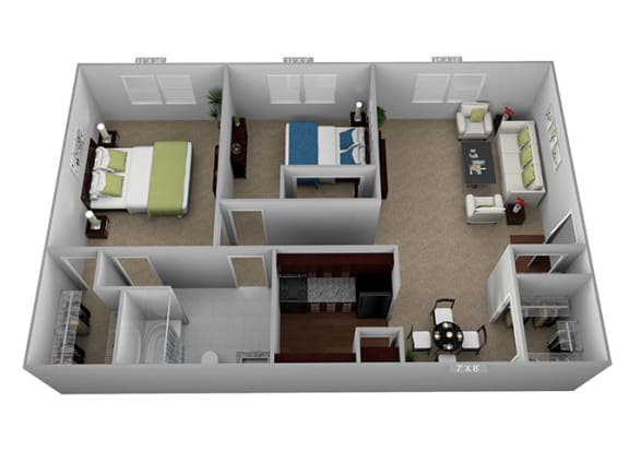 2 bed 1 bath Floor Plan at Highland Club Apartments, Watervliet, NY