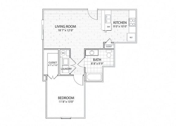 Mesa 1 bedroom, 1 bathroom apartment floor plan