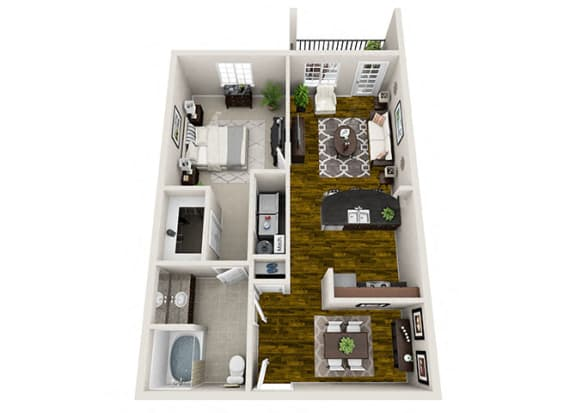 Summit 1x1 3D Floor Plan