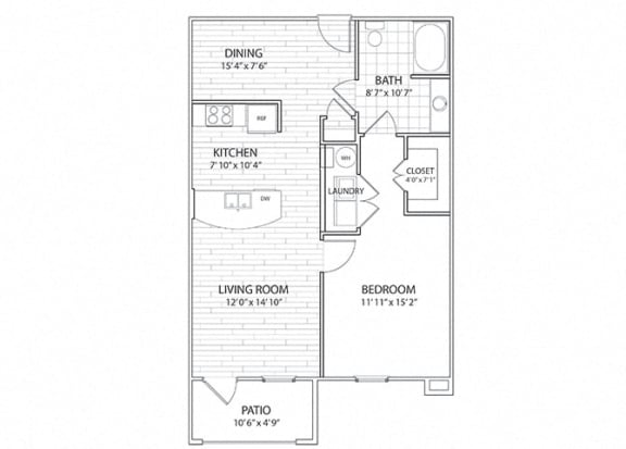 Summit One Bedroom One Bath Floor Plan