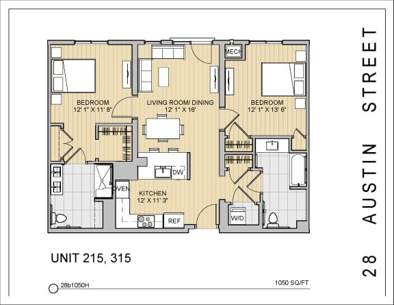 2 Bed 2 Bath 28b1050H Floor Plan at 28 Austin St, Newton, 02460