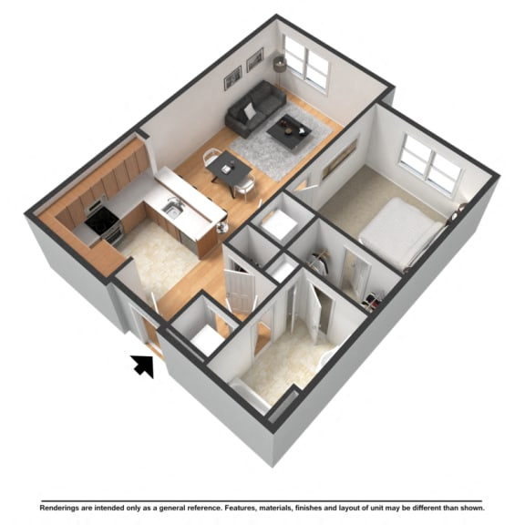 Floor Plan  One bedroom, one bathroom