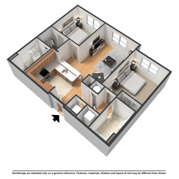 Floor Plan  Two bedroom, two bathroom
