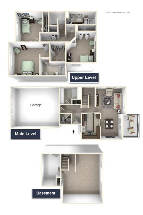 Yarrow Townhome Floor Plan - 3 BR 2.5 BA at Killian Lakes Apartments and Townhomes, Columbia, South Carolina