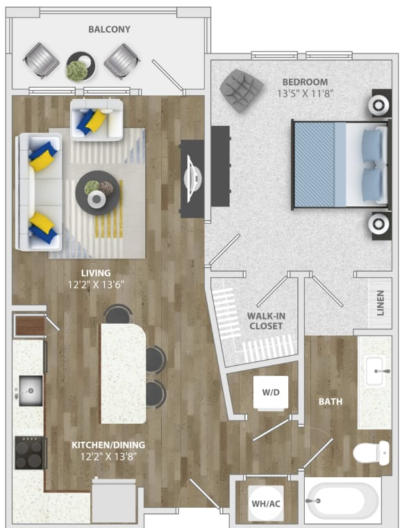 Floor Plan  1 Bedroom (a1) Floor Plan at Monterosso Apartments, Kissimmee, FL
