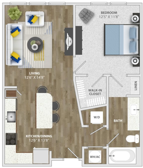 Floor Plan  1 Bedroom (a2) Floor Plan at Monterosso Apartments, Kissimmee, 34741