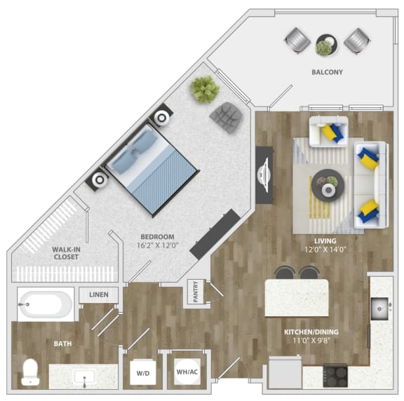 Floor Plan  1 Bedroom (a3) Floor Plan at Monterosso Apartments, Kissimmee, Florida