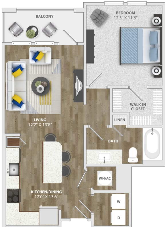 Floor Plan  1 Bedroom (a4) Floor Plan at Monterosso Apartments, Kissimmee
