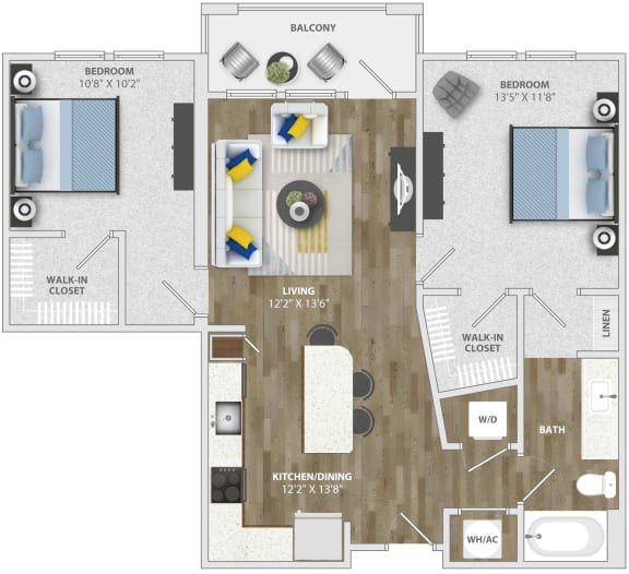 2 Bedroom (b1) Floor Plan at Monterosso Apartments, Kissimmee, FL, 34741