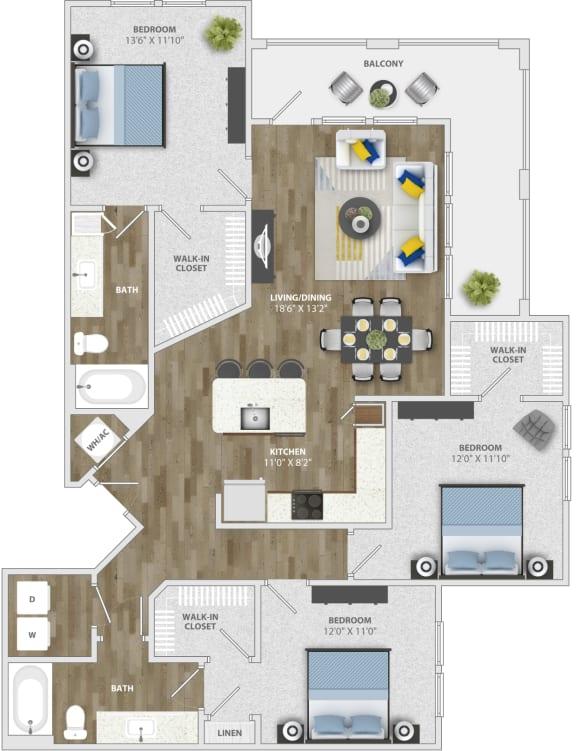 Floor Plan  3 Bedroom (c1)  Floor Plan at Monterosso Apartments, Kissimmee, 34741