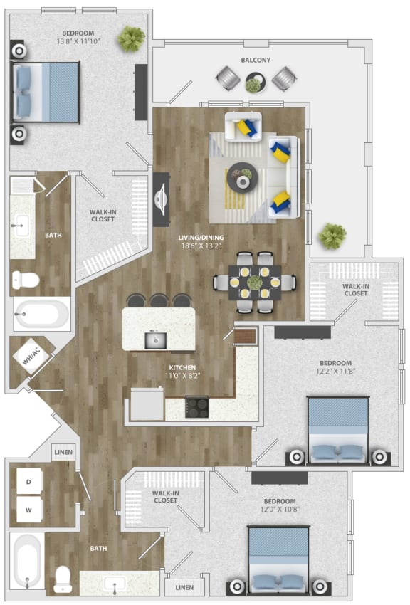 Floor Plan  3 Bedroom (c2) Floor Plan at Monterosso Apartments, Kissimmee, Florida