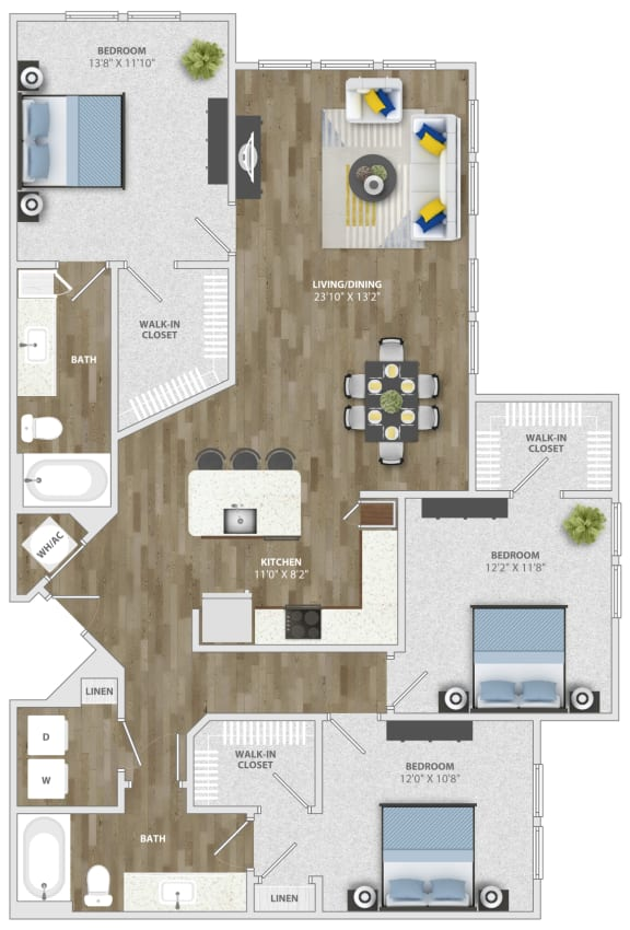 Floor Plan  3 Bedroom (c3) Floor Plan at Monterosso Apartments, Kissimmee
