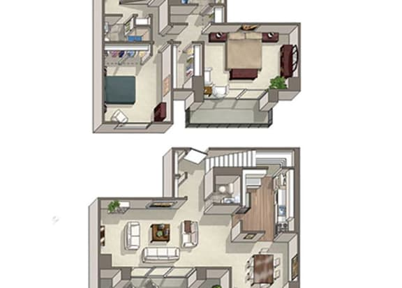 Floor Plan  2 Bed 2.5 Bath Windsor Floor Plan at The Summit, Alexandria