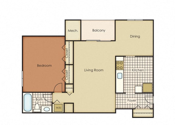 Floor Plan  Pines of York Apartment Homes - 1 Bedroom 1 Bath Apartment