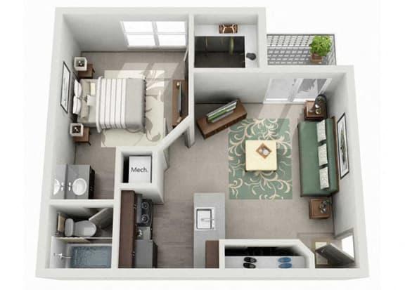 Floor Plan  Tech Center Square Apartment Homes - 1 Bedroom 1 Bath Apartment