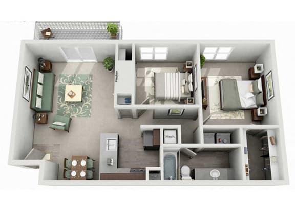 Floor Plan  Tech Center Square Apartment Homes - 2 Bedroom 1 Bath Apartment