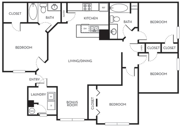 Floor Plan  Four Bedroom Two Bath Floorplan The Terraces at Lake Mary Florida