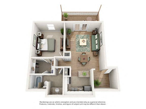 Floor Plan  The Brookwood Apartment Homes - 1 Bedroom 1 Bath Apartment