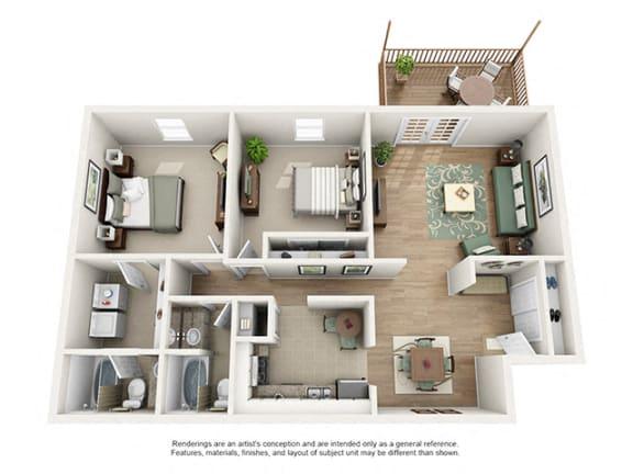 The Brookwood Apartment Homes - 2 Bedroom 2 Bath Apartment