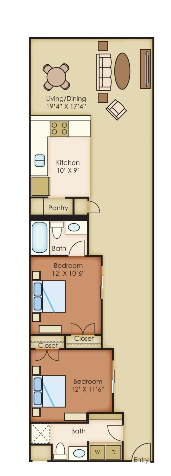 Worman 1180 sf 2 Bedrooms 2 Bath