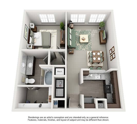 Floor Plan  The Estates at Johns Creek Apartment Homes - 1 Bedroom 1 Bath Apartment