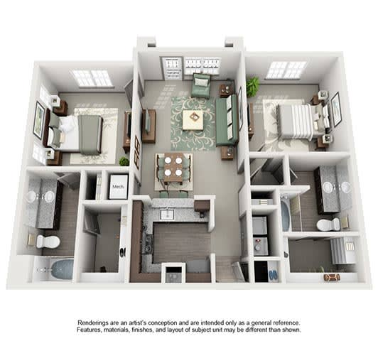 Floor Plan  The Estates at Johns Creek Apartment Homes - 2 Bedroom 2 Bath Apartment