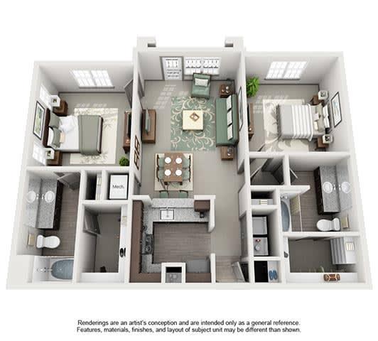The Estates at Johns Creek Apartment Homes - 2 Bedroom 2 Bath Apartment