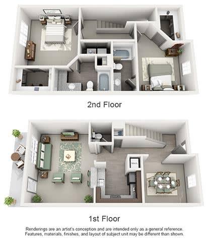 Floor Plan  The Estates at Johns Creek Apartment Homes - 2 Bedroom 2.5 Bath Apartment