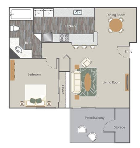 The Retreat at Rocky Ridge Apartment Homes - 1 Bedroom 1 Bath Apartment