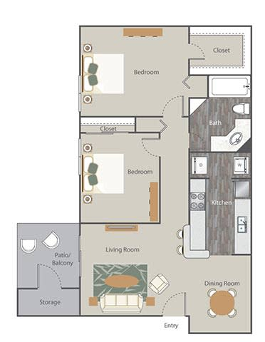 The Retreat at Rocky Ridge Apartment Homes - 2 Bedroom 1 Bath Apartment