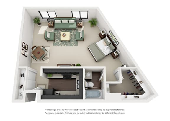 one bedroom apartment floor plan overview